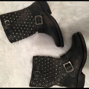 Frye Distressed Leather Studded Moto Boots